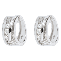 Oorbellen Betovering - Strakke Koord - Wit goud - 0.73 karaat - 64 Diamanten