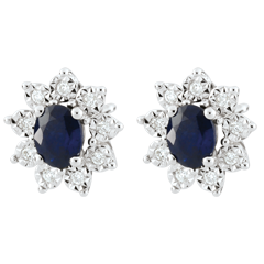 Oorbellen Eeuwige Edelweiss - Marguerite Illusie - saffier en diamanten - wit goud 18 karaat