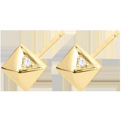 Oorbellen Genesis - Ruwe Diamanten - geel goud - 18 karaat
