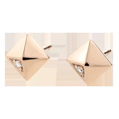 Oorbellen Genesis - Ruwe Diamanten - roze goud - 18 karaat
