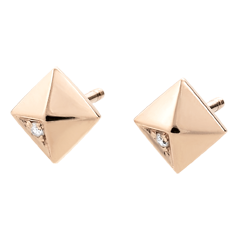 Oorbellen Genesis - Ruwe Diamanten - roze goud