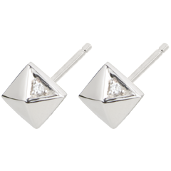 Oorbellen Genesis - Ruwe Diamanten - wit goud - 18 karaat