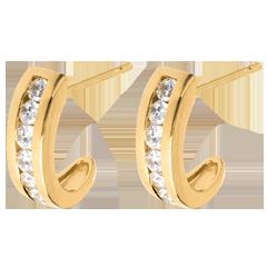 Oorbellen Halve Maan Geel Goud betegeld - 0.41 karaat - 12 Diamanten