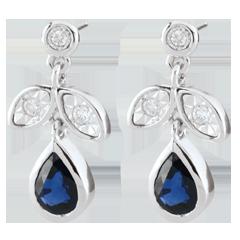Oorbellen Hesmé - Saffier en Diamant - 9 karaat witgoud