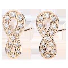 Oorbellen Infinity - roze goud en diamanten - 9 karaat