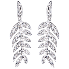 Oorbellen Lauwerkrans - wit goud 9 karaat en diamanten