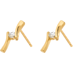 Oorbellen Liefdesnest - Apostrophe Diamant geelgoud - 0.1 karaat - 18 karaat