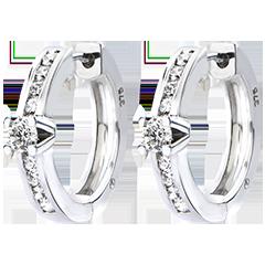 Oorbellen Origine - Rails - 18 karaat witgoud met Diamanten