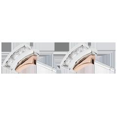 Oorbellen Parfum Dageraad Nid Précieux - Trilogie Diamant - Roze Goud Wit Goud - 3 diamanten - 18 karaat
