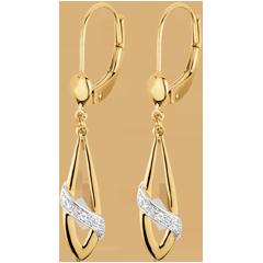 Oorbellen Poesië 18 karaat twee goudsoorten en Diamanten