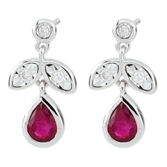 Oorbellen - robijn en Diamant