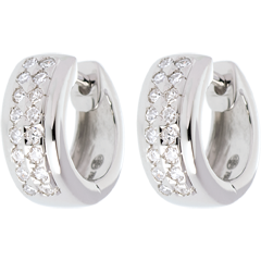 Oorbellen Sterrenbeeld - Astraal - klein model - geplaveid wit goud - 0.22 karaat - 32 diamanten