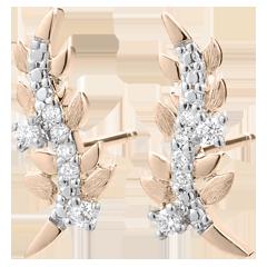 Oorbellen Verrukte Tuin - Loof Royal - roze goud en diamanten - 9 karaat