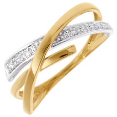 Orbit ring yellow and white gold - 3diamonds