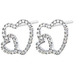 Orecchini Abbondanza - Doppio Cuore - oro bianco 9 carati e diamanti