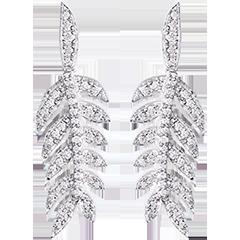 Orecchini Alloro di Gloria - oro bianco 9 carati e diamanti