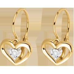 Orecchini Amore mio - Oro giallo - 9 carati - 2 Diamanti