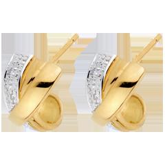 Orecchini Attrazione - Oro bianco e Oro giallo - 18 carati - 4 Diamanti