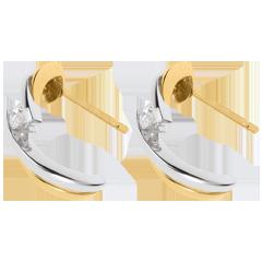 Orecchini Avventura adue - Oro giallo e Oro bianco - 18 carati - 2 Diamanti - 0.16 carati