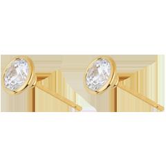 Orecchini Bambolina Solitario - Oro giallo -18 carati - 2 Diamanti - 1.5 carati