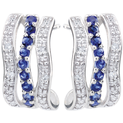 Orecchini a cerchio - Onda - Oro bianco - 9 carati - 8 Diamanti - 18 Zaffiri - 0.27 carati