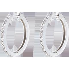Orecchini a cerchio semi pavé - Oro bianco - 18 carati - 26 Diamanti - 0.09 carati