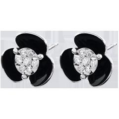 Orecchini Chiaroscuro - Fiori di mezzanotte - Oro bianco e lacca - 9 carati - Diamanti