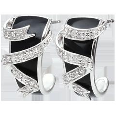 Orecchini Chiaroscuro - Nastro di stelle - Oro bianco - 9 carati -Lacca nera -Diamanti