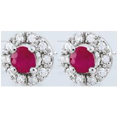 Orecchini Clévia - Oro Bianco - 9 carati - 20 Diamanti- 2 Rubini