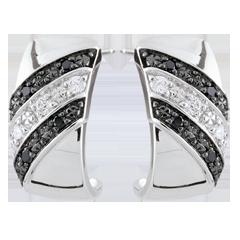 Orecchini creoli Chiaroscuro - Crepuscolo - Oro bianco - 9 carati - Diamanti bianchi e diamanti neri