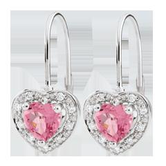 Orecchini Cuore Incantato - Oro bianco - 18 carati - 20 Diamanti - Topazio rosa - 1 carato