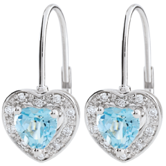 Orecchini Cuore Incantato - Oro bianco - 9 carati - 20 Diamanti - Topazio blu - 1.19 carati