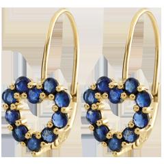Orecchini Cuore Rosie - Oro giallo - 9 carati - 20 Zaffiri - 1.06 carati