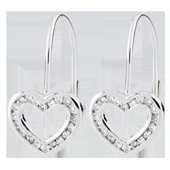 Orecchini a cuore Tea - Oro bianco - 9 carati - 40 Diamanti - 0.16 carati