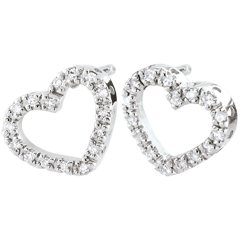 Orecchini Cuores Zadig - Oro bianco - 9 carati - 32 Diamanti - 0.1 carati
