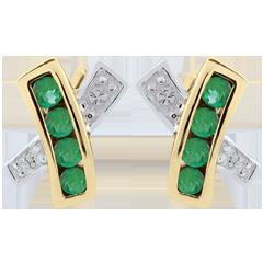 Orecchini Donia - Oro bianco e Oro giallo - Diamanti - 8 Smeraldi