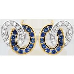 Orecchini Duorama - Oro bianco e Oro giallo - 9 carati - 22 Zaffiri - 20 Diamanti