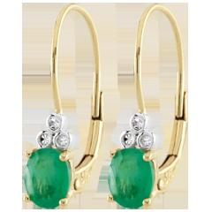 Orecchini Exquises - Oro giallo - 9 carati - 6 Diamanti - 2 Smeraldi