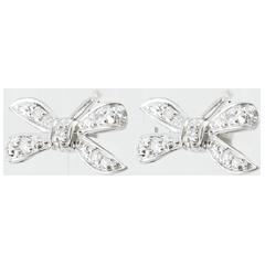 Orecchini Fiocco dell'Eden - Oro bianco - 18 carati - 10 Diamanti