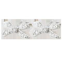 Orecchini Fiocco dell'Eden - Oro bianco - 9 carati - 10 Diamanti
