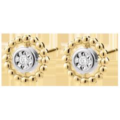 Orecchini Fior di Sale - Cerchio - Oro bianco e Oro giallo - 9 carati - Diamanti