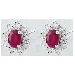 Orecchini Illusione Floreale - Oro bianco - 18 carati - 18 Diamanti - 0.108 carati - 2 Rubini