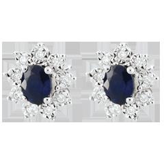Orecchini Illusione Floreale - Oro bianco - 18 carati - 18 Diamanti - 0.108 carati - 2 Zaffiri
