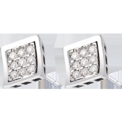 Orecchini Impronta punto luce - Oro bianco pavé - 18 carati - 18 Diamanti - 0.27 carati