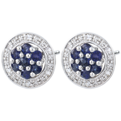 Orecchini Isalia - Oro bianco - 9 carati - 12 Diamanti - 14 Zaffiri - 0.32 carati