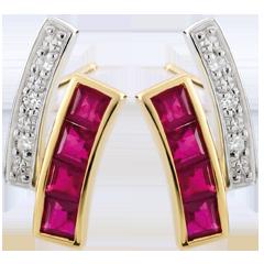 Orecchini Kiona - Oro bianco e Oro giallo - 9 carati - 8 Rubini - 6 Diamanti