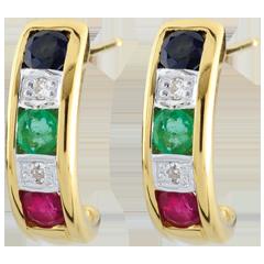 Orecchini Lola - Oro giallo - 9 carati - Smeraldi - Zaffiri - Rubini e Diamanti - 0.44 carati