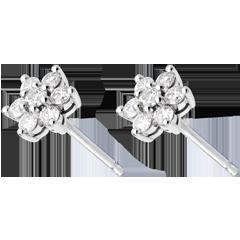 Orecchini Lotus pavé - Oro bianco - 18 carati -14 Diamanti - 0.33 carati