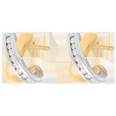 Orecchini Mezzelune - Oro giallo e Oro bianco - 18 carati - 16 Diamanti