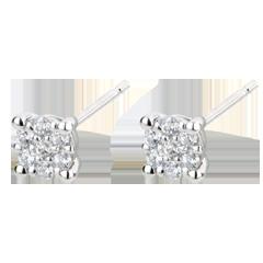 Orecchini Miriade di stelle - Oro bianco - 9 carati - 14 Diamanti